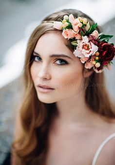 wedding hair with flowers, floral hair accessories for brides - bridal hairstyle with floral headband