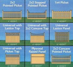 Project Plan Custom Elite Fences Includes 9 Designs. Prints set: $19.95  This plan includes a variety of attractive design options to create a beautiful fence with a customized look.  9 Different Designs  Gate Designs Included  Fence Height Options Included #garden fence #fence #gate #DIY