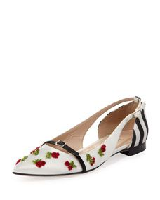 Flat Pointed-Toe Cherry Ballerina, Black/White