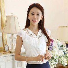 Moda preto / branco de manga curta mulheres irritar rendas chiffon blusa feminina camisas femininas blusas roupas blusas camisas