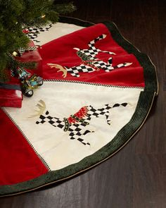 "#ONLYATNM Only Here. Only Ours. Exclusively for You. Christmas tree skirt made of rayon velvet and polyester silk. Embellished with metallic thread. 60""Dia. Spot clean. Imported."