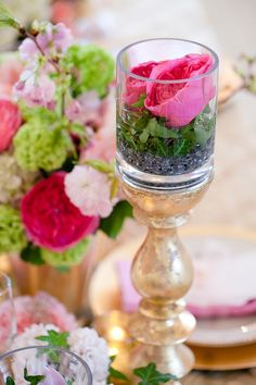 Potted Flowers on Gold Candlestick | photography by http://www.ashleybartoletti.com/