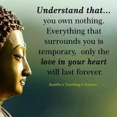 """"""" Understand that.. you own nothing. Everything that surrounds you is temporary, only the love in your heart will last forever. """""""