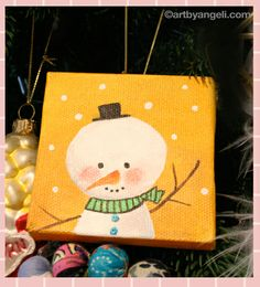 Mini canvas - Christmas ornament This is SO cute! Good idea for a kids painting!