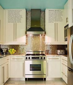 The stainless hood and stove look great with lighter cabinets like ours. This hardware is too oversize for my taste.