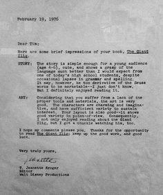 """10 cartas de rechazo enviadas a famosos antes de que triunfaran.  Si hablamos de rechazo, ...En 1976, cuando todavía era un estudiante de secundaria, Burton envió una copia de su libro para niños, The Giant Zlig, a Walt Disney Productions para que fuese considerada para su publicación. Aunque fue rechazada por ser """"demasiado derivada de las obras de Theodor Seuss Geisel para ser comercializable,"""" sin embargo, el editor T. Jeanette Kroger le ofreció al cineasta algunos...consejos..."""