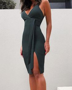 2018 Summer New Fashion Women Casual Dress Solid Plunge Side Slit Bodycon Dress Fashion Mode, Funky Fashion, Women's Summer Fashion, Sexy Dresses, Fashion Dresses, Trendy Dresses, Fashion Shoes, Online Dress Shopping, Womens Fashion Online