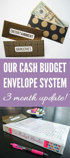 Our Cash Budget Envelope System: 3 Month Update!  |  They say it takes 90 days to form a new habit...well, here's the full run-down of our first 90 days of using our new cash budget envelope system, from the highlights to the challenges and adjustments we've made.  We hope our story is an encouragement to you in your own journey toward financial peace.  via thinkingcloset.com Financial Peace, Financial Tips, Financial Planning, Budgeting Finances, Budgeting Tips, Budgeting System, Ways To Save Money, Money Saving Tips, Money Tips