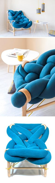 An Oversized Stuffed Knit Chair by Veega Tankun