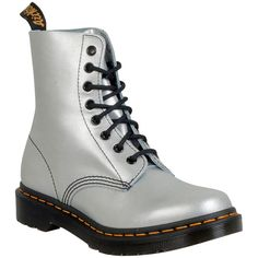 Dr. Martens Women's Pascal Alumix Combat Boot (£80) ❤ liked on Polyvore featuring shoes, boots, silver, laced combat boots, laced up combat boots, military lace up boots, lacing combat boots and silver combat boots