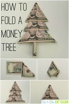 How to Fold a Christmas Money Tree Christmas Gifts To Make, Xmas Gifts, All Things Christmas, Holiday Crafts, Christmas Crafts, Holiday Money, Diy Holiday Gifts, Christmas Christmas, Christmas Ideas