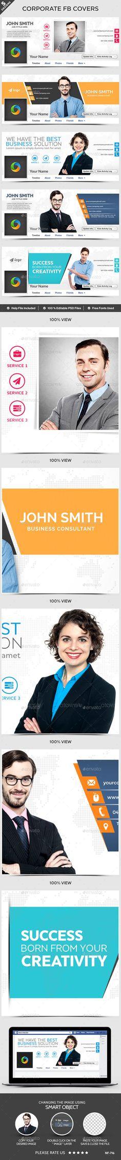Corporate Facebook Covers - 5 Designs - Facebook Timeline Covers Social Media