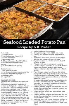 Seafood loaded potato pan - recipe by ar trahan spicy louisiana recipe with shrimp, smoked sausage, small red potatoes, vidalia onion, louisiana crawfish Seafood Boil Recipes, Cajun Recipes, Shrimp Recipes, Cooking Recipes, Haitian Recipes, Donut Recipes, Crawfish Recipes, Crawfish Pie, Cajun Cooking