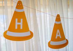 Printable construction cones birthday party banner for a modern construction birthday party @merrimentdesign