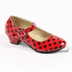 Spaanse schoenen rood/zwart glossy www.laluzz.nl