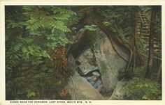 the-two-germanys:  Scene near The Dungeon. Lost River, White Mts., N.H.Postcard, United States of America.