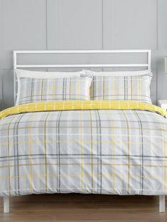 Homeware Grey and lemon check duvet set Uni Essentials, Back To University, Duvet Sets, Looking For Women, Comforters, Lemon, Blanket, Grey, Check
