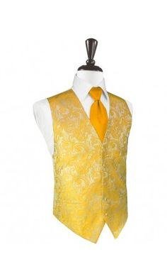 Tangerine Tapestry Tuxedo Vest