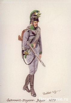 Austro-Hungarian Jager, 1809. Wearing his distinctive iron-grey uniform, and carrying a short rifle and powder horn, this jager was probably part of the skirmish line attached to most infantry regiments. The dedicated Jager battalions had by 1808 exchanged their crested helmets for corsehuts (Corsican hats).