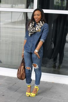 pop of colour with denim...