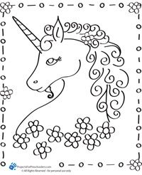Unicorn coloring page, more coloring pages at the site.