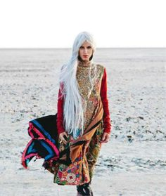 White-haired gypsy by the shore