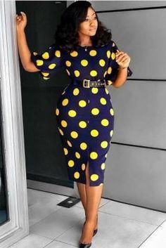 Navy Blue Polyester Casual Fashion lantern sleeve Half Sleeves O neck Sheath Knee-Length stringy selvedge spli Latest African Fashion Dresses, African Dresses For Women, African Print Fashion, Nigerian Fashion, Office Dresses For Women, African Clothes, Africa Fashion, Latest Fashion, Classy Work Outfits