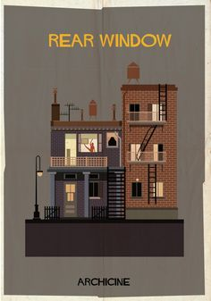 ARCHICINE: Illustrations of Architecture in Film - Federico Babina / Rear Window. Directed by Alfred Hitchcock