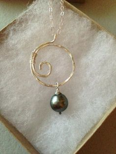 Tahitian Pearl Piko Sterling Silver Necklace by KaianazCreationz, $85.00