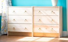 Ikea Rast dresser hack - wood knobs replaced with gold pulls.