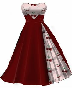 Pink and red cherry…would be a cool bridesmaid dress! Pin Up Outfits, Pin Up Dresses, Pretty Dresses, Beautiful Dresses, Short Dresses, Fashion Dresses, Dress Up, Rockabilly Outfits, Rockabilly Fashion