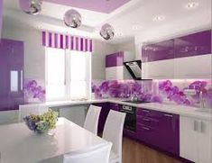 secrets about purple kitchen cabinets 2019 and purple kitchen accessories. We will also tell you about the trends purple kitchen ideas and its combination such as purple and white kitchen decor. Purple Kitchen Walls, Purple Kitchen Designs, Kitchen Wall Design, Purple Walls, Kitchen Colors, Kitchen Ideas, Kitchen Grey, Purple Ceiling, Kitchen Pictures