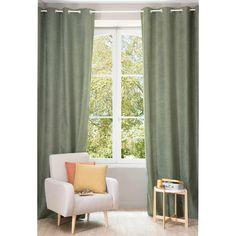 Rideau à œillets vert lichen 140 x 300 cm | Maisons du Monde