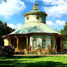 The Chinese House, Frederick the Greats's garden pavilion in Sanssouci Park in Potsdam, created by the garden architect Johann Gottfried Büring between 1755 and 1764. The live-sized gilded sandstone sculptures adorning the building are from the workshops