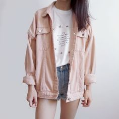 Spring Denim Jacket Colors) from Megoosta Fashion - Oversized+jackets+in+colorful+and+unique+tones+to+match+spring!+You+are+sure+to+stand+out+of+the+cr - Tumblr Outfits, Mode Outfits, Korean Outfits, Teen Fashion Outfits, Cute Fashion, Girl Outfits, Denim Fashion, Women's Fashion, Fashion 2018
