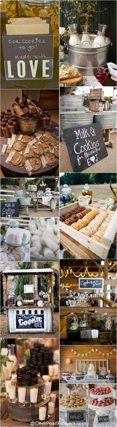 Rustic country wedding ideas - milk and cookies wedding bar /  / http://www.deerpearlflowers.com/wedding-smore-cookies-milk-bar-ideas/