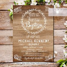 Hey, I found this really awesome Etsy listing at https://www.etsy.com/au/listing/265235540/rustic-baptism-invitation-rustic-wood