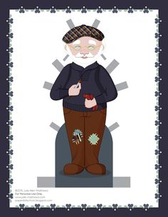Paper dolls by Julie Allen Matthews.  My annual December daily paper doll download project featuring Santa and Mrs Claus paper dolls.  Today is a workshop outfit for the Santa Claus paper doll.