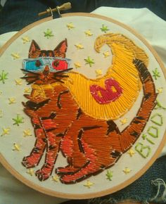embroidered portrait of my cat Biddy *she's a supercat & the HBIC*