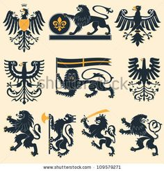 Find Heraldic Lions Eagles Set stock images in HD and millions of other royalty-free stock photos, illustrations and vectors in the Shutterstock collection. Thousands of new, high-quality pictures added every day. Lion Vector, Norse Symbols, Family Crest, Lion Tattoo, Crests, Star Wars Art, Coat Of Arms, Middle Ages, Designs To Draw