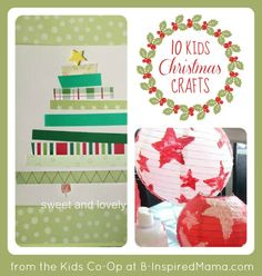 10 Kids Christmas Crafts from the Kids Co-Op at B-InspiredMama.com