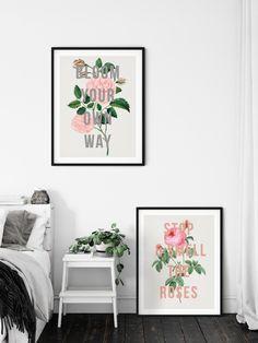 Rose Print Wild Rose Print Floral Vintage Print Flower Art | Etsy Art Prints Quotes, Wall Art Prints, Flower Prints, Flower Art, Vintage Prints, Vintage Art, Botanical Wall Art, Botanical Decor, Bloom Quotes