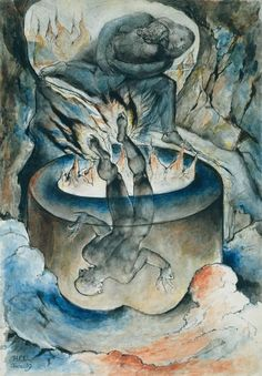 William Blake 'The Simoniac Pope', 1824–7  In Hell, Dante and Virgil meet those guilty of simony (buying or selling ecclesiastical preferment). Like all simoniacs, Pope Nicholas III is punished by being suspended head downwards in a well of fire.