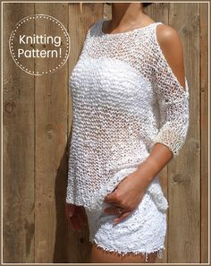I soooo want this for the beach this summer!!! Unique design, soft, feminine, and sexy, an exquisite summer sweater or bikini cover-up.This design is a blend of modern and rustic style. A beautiful loose knit featuring open shoulders, made in a soft thick