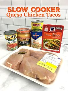 SLOW COOKER QUESO CHICKEN TACOS - Taco night just got a lot more flavorful with this SUPER EASY, delicious weeknight meal that makes the BEST chicken tacos! Only a few ingredients and minutes to throw together. Use the chicken for tacos, burritos, wraps a Crockpot Dishes, Crock Pot Cooking, Cooking Recipes, Best Crockpot Meals, Crockpot Meals Easy Families, Party Crockpot Recipes, Cake Recipes, Aldi Recipes, Vegan Recipes