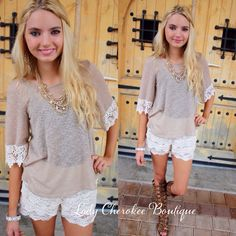 """https://instagram.com/ladycherokeeboutique Just In Time TAUPE WITH CROCHET SLEEVE DETAIL TOP Price: $26.00, Free Shipping Qty: 1 small, 1 medium, 2 large Please comment """"Sold, state, size, and quantity needed, as well as your email to purchase. Also, you must let us know what state you live in, before we can invoice you.  Cream Crochet Shorts  Price: $24.00 FREE SHIPPING! Qty: 3 small/medium (0-5), 3 medium/large (6-10) Please comment """"Sold, state, size, and quantity needed, as well as your…"""