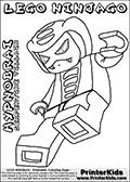 Coloring page with a HYPNOBRAI SERPENTINE villain from the popular LEGO NINJAGO series. This Hypnobrai villain is drawn after being hit flying backwards away. This coloring print has the text LEGO NINJAGO HYPNOBRAI SERPENTINE VILLAIN written with colourable letters in addition to the colorable LEGO NINJAGO HYPNOBRAI character. Print and color this LEGO NINJAGO page that is drawn by Loke Hansen (http://www.LokeHansen.com) based on the popular LEGO NINJAGO series and figures.