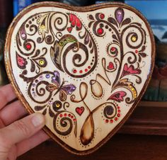 Heart of Love Valentine - wood-burned wall decor with swarovski crystal embellishments! by Passion2Burn on Etsy