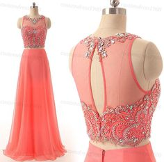 Two Pieces Crystal Prom Dress  Coral Chiffon by customdress1900