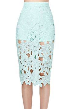 Summer Casual Green Lace Pencil Skirt